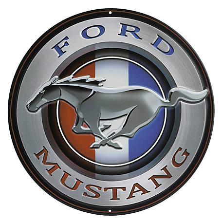 Open Road Brands Ford Mustang Round Embossed Tin Sign