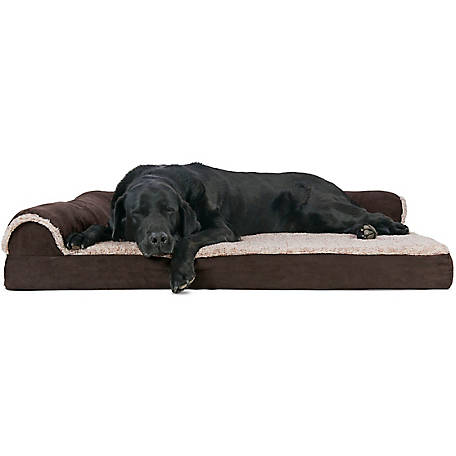 FurHaven Two-Tone Faux Fur & Suede Deluxe Chaise Lounge Orthopedic Sofa Pet Bed
