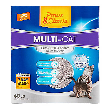 Paws & Claws Multi-Cat Clumping Cat Litter, Fresh Linen Scent