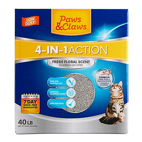 Paws & Claws 4-in-1 Action Clumping Cat Litter, Fresh Floral Scent