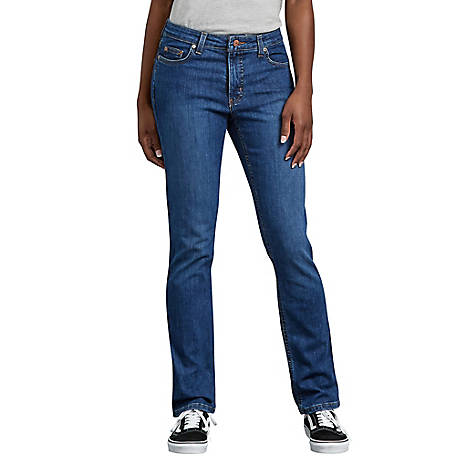 Dickies Women's Perfect Shape Straight Leg Stretch Denim Jeans