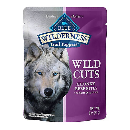 Blue Buffalo Wilderness Trail Toppers Wild Cuts Grain-Free Chunky Beef Bites in Hearty Gravy Dog Food Topper, 3 oz.