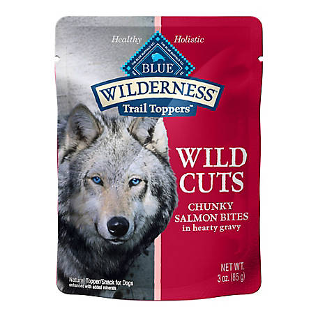 Blue Buffalo Wilderness Trail Toppers Wild Cuts Grain-Free Chunky Salmon Bites in Hearty Gravy Dog Food Topper, 3 oz.