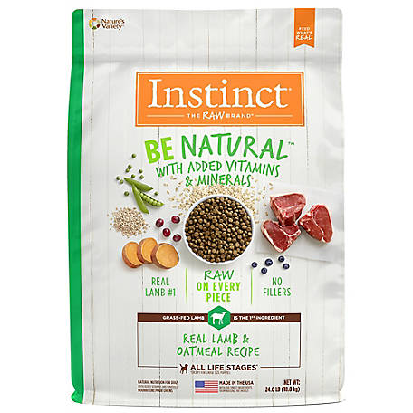 Instinct Be Natural Lamb & Oatmeal Recipe Natural Dry Dog Food, 24 lb.