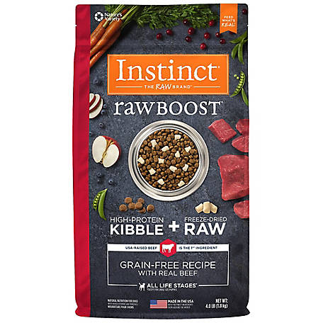 Instinct Raw Boost Grain-Free Beef Recipe Natural Dry Dog Food, 4 lb.
