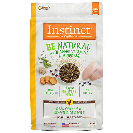Instinct Be Natural Chicken & Brown Rice Recipe Natural Dry Dog Food, 4.5 lb.