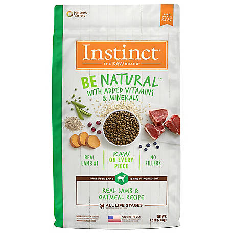 Instinct Lamb & Oatmeal Be Natural Recipe Natural Dry Dog Food, 4.5 lb.