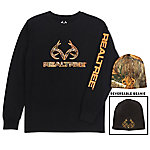 Realtree Men's Long Sleeve Tee With Beanie Combo