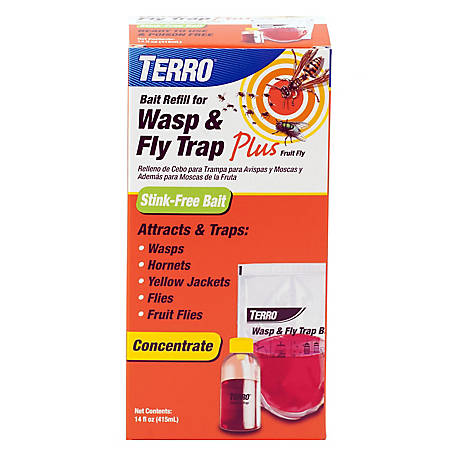 Terro Wasp & Fly Trap & Fruit Fly Bait Refill, T515
