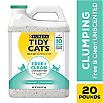 Purina Tidy Cats Clumping Cat Litter, Free & Clean Unscented Multi Cat Litter,  20 lb. Jug, 70230168542