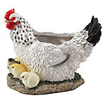 Red Shed Hen With Chicks Planter