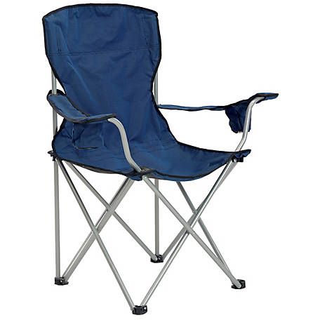 Quik Chair Deluxe Quad Folding Chair with Navy and Black Fabric