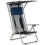 Quik Chair Beach Recliner Shade Chair with Navy and White Fabric