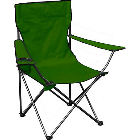 Quik Chair Quad Folding Chair with Green Fabric