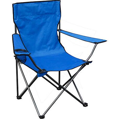 Quik Chair Quad Folding Chair with Blue Fabric