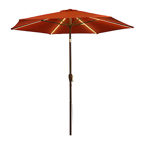 Quik Chair 9 ft. LED Market Umbrella - Red, Warm Light