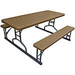 Plastic Development Group 6 ft. Wood Grain Picnic Table With Benches, 622