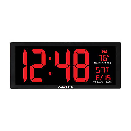 AcuRite 14.5 in. LED Clock with Thermometer, 75127DI