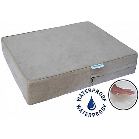 Go Pet Club Solid Memory Foam Orthopedic Dog Pet Bed with Waterproof Cover Khaki