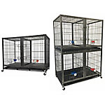 Go Pet Club 44' Heavy Duty Stackable Cat/Dog Crate with Divider and Water Bowls