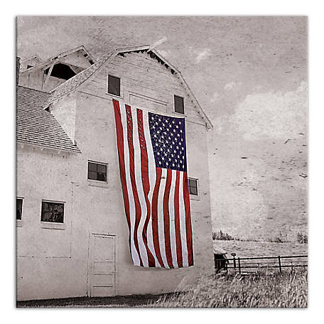 Designs Direct Patriotic Barn 16 x 16 in. Canvas Wall Art