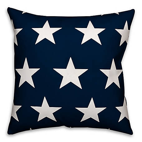 Designs Direct Blue White Stars 18 x 18 Spun Poly Pillow