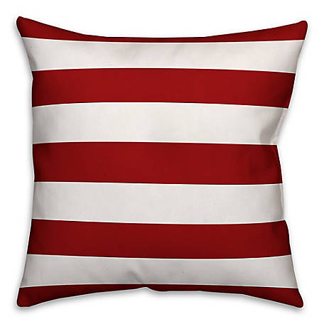 Designs Direct Red White Stripes 18 x 18 in. Pillow