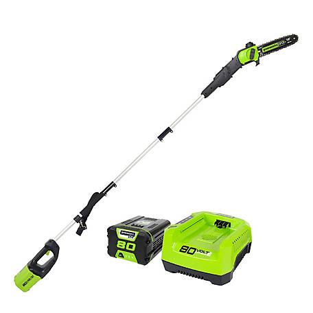 Greenworks Pro 80V 10 in. DigiProTM Pole Saw with 2Ah Battery & Charger, 1400202