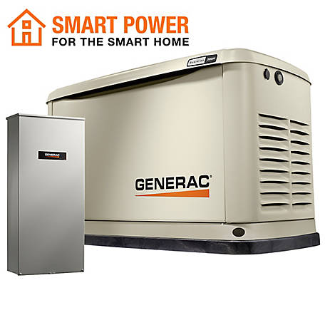 Generac 7039 - Guardian Series 20/18kW Air Cooled Standby Generator, WIFI Enabled, w/ Whole House 200A Transfer Switch (non CUL)