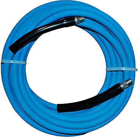 Eaglewash I Blue Wrapped Pressure Washer Hose, 4000 PSI, Temperature: 14 deg. F to 310 deg. F, 100 ft,