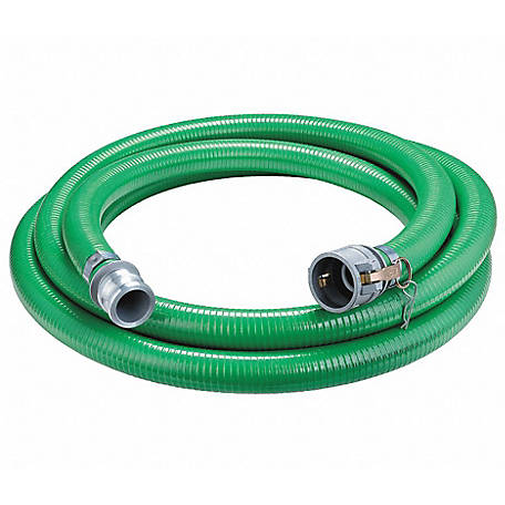 Eagle Green PVC Suction Hose Assembly, 3 in. x 20 ft Coupled Male x Female (Cx E) Camlocks, 50 PSI , -10 deg. F to 140 deg. F