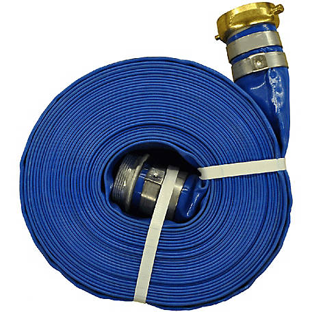 Eagleflo Blue PVC Discharge Hose Assembly, 2 in. x 50 ft., Coupled Male x Female Water Shanks, 80 PSI , -4 deg. F to 150 deg. F