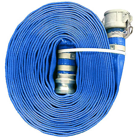 Eagleflo Blue PVC Discharge Hose Assembly, 3 in. x 50 ft., Coupled Male x Female (CXE) Camlock, 70 PSI , -4 deg. F to 150 deg. F