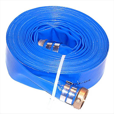Eagleflo Blue PVC Discharge Hose Assembly, 3 in. x 50 ft., Coupled Male x Female Water Shanks, 80 PSI , -4 deg. F to 150 deg. F