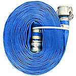 Eagleflo Blue PVC Discharge Hose Assembly, 4 in. x 50 ft., Coupled Male x Female (CXE) Camlock, 70 PSI , -4 deg. F to 150 deg. F