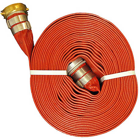 Eagle HD Red Water Discharge Hose Assembly, 1.5 in. x 50 ft., 200 PSI Maximum Pressure, -10 deg. F 170 deg. F