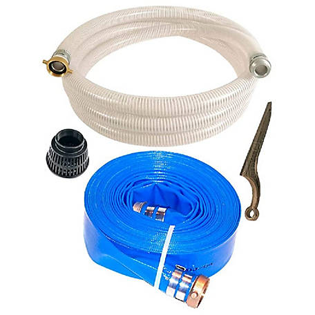 JGB Enterprises PVC/Aluminum Water/Trash Pump Hose Kit, 2 in. x 20 ft., Clear