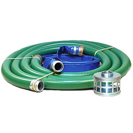 JGB Enterprises PVC/Aluminum Water/Trash Pump Hose Kit, 3 in. x 20 ft., Green