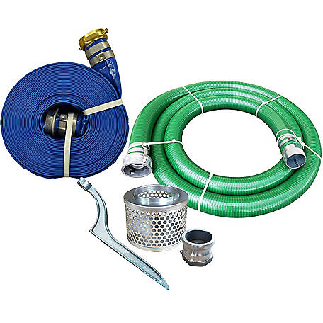JGB Enterprises PVC/Aluminum Water/Trash Pump Hose Kit, 4 in.x 20 ft., Green