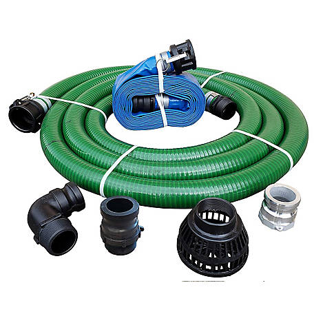 JGB Enterprises PVC/Polypropylene/Aluminum Fertilizer Solution Pump Hose Kit, 2 in.x 20 ft., Green