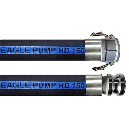 Eagle Pump HD 150 lb. Black, 4 in. Male x Female Camlocks (CxE), 150 PSI Max Pressure, 4 in. Hose ID, 20 ft. L
