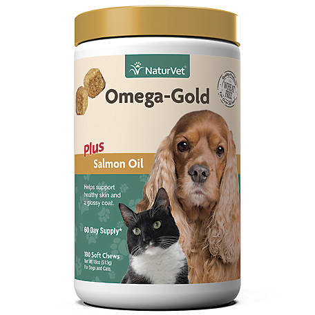 NaturVet Omega-Gold Plus Salmon Oil Soft Chew, 180 ct.