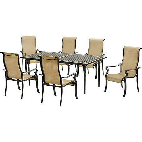 Peachy Hanover Brigantine 7 Piece Dining Set With An Expandable Cast Top Dining Table At Tractor Supply Co Customarchery Wood Chair Design Ideas Customarcherynet