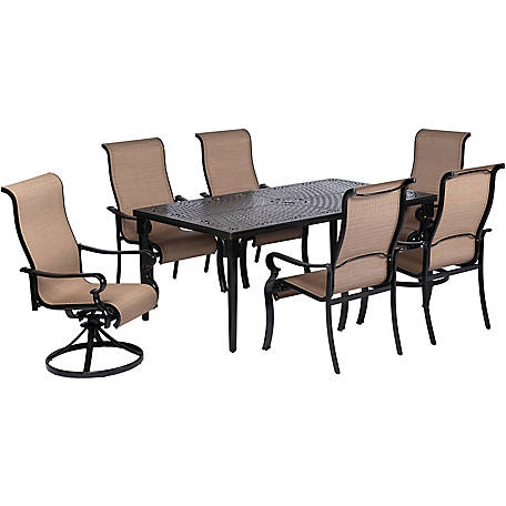 Incredible Hanover Brigantine 7 Piece Dining Set With 40 X 70 In Cast Top Dining Table 2 Sling Swivel Rockers 4 Sling Dining Chairs At Tractor Supply Co Andrewgaddart Wooden Chair Designs For Living Room Andrewgaddartcom
