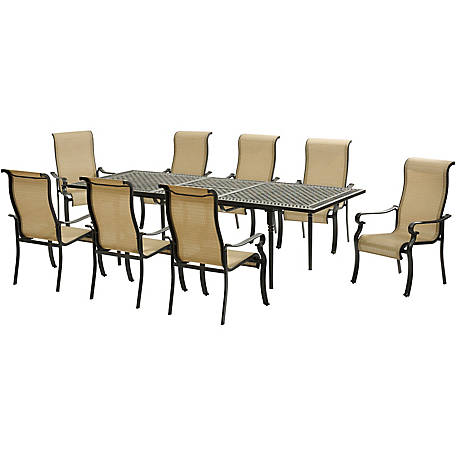Amazing Hanover Brigantine 9 Piece Dining Set With An Expandable Cast Top Dining Table At Tractor Supply Co Customarchery Wood Chair Design Ideas Customarcherynet