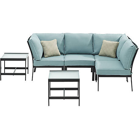 Hanover Murano 6-Piece Modular Sectional Set - Ocean Blue