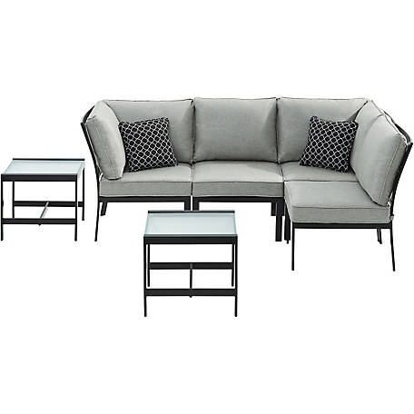 Hanover Murano 6P Modular Sectional Silver Linings, MUR-6PC-SLV
