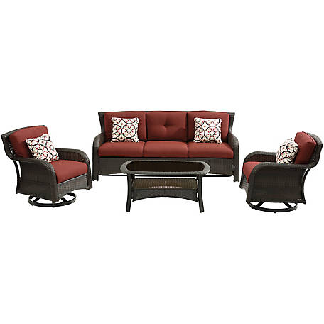 Hanover Strathmere 4P Lounge Set In Crimson Red, STRATH4PCSW-LS-RED