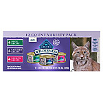 Blue Buffalo Wilderness Pate Variety Pack Duck, Chicken & Salmon Grain-Free Cat Canned Food, 3 oz., Case of 12