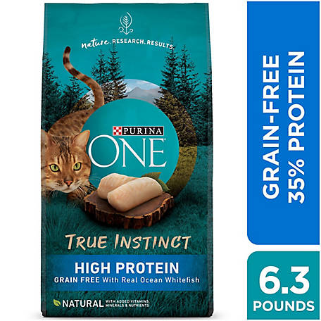 Purina ONE Grain Free, High Protein, Natural Dry Cat Food, True Instinct with Ocean Whitefish, 6.3 lb. Bag